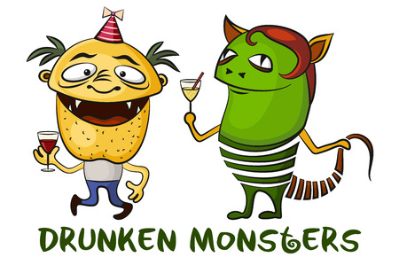 unshaven: Set of Funny Drunken Cartoon Monsters with Alcohol Drinks, Colorful Toy Characters in Holiday Caps, Smiling and Dancing, Elements for your Party Design, Prints and Banners, Isolated on White. Vector