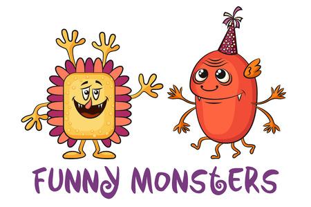 Conjunto de lindos monstruos diferentes dibujos animados, personajes coloridos en vacaciones casquillos, elementos para el diseño, impresiones y banderas, aislado sobre fondo blanco. Vector