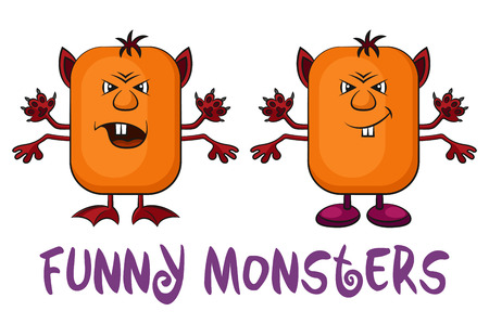 ugly gesture ugly gesture: Set of Funny Colorful Cartoon Characters, Different Angry Monsters Waving their Paws, Elements for your Design, Prints and Banners, Isolated on White Background. Vector