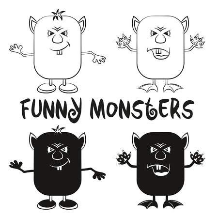 fang: Set of Funny Black Contour and Silhouette Cartoon Characters, Different Angry Monsters Waving their Paws, Elements for your Design, Prints and Banners, Isolated on White Background. Vector Illustration