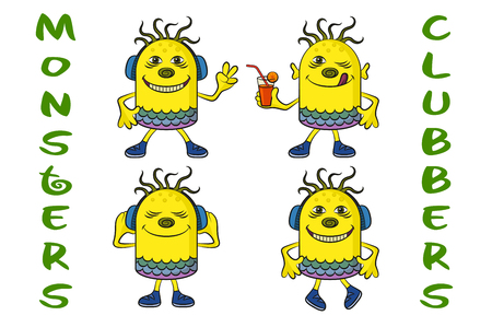 clubber: Set of Cute Cartoon Monsters Clubbers, Colorful Characters in Headphones, Listening Music, Smiling and Dancing, Elements for Your Holiday Party Design, Prints and Banners, Isolated on White. Vector Illustration