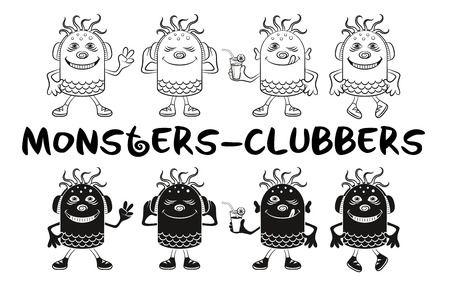 clubber: Set of Cute Cartoon Monsters Clubbers, Black Contour and Silhouette Characters, Listening Music, Smiling and Dancing, Elements for Holiday Party Design, Prints and Banners, Isolated on White. Vector