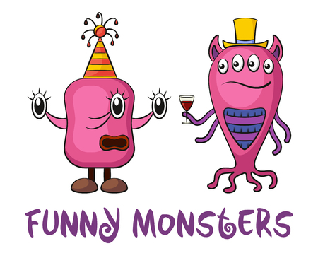 Set of Cute Different Cartoon Monsters with a Drink, Colorful Characters in Holiday Caps, Elements for your Design, Prints and Banners, Isolated on White Background. Vector