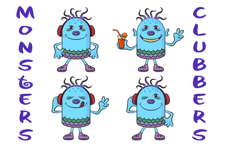 clubber: Set of Cute Cartoon Monsters Clubbers, Colorful Characters in Headphones, Listening Music, Smiling and Dancing, Elements for Your Holiday Party Design, Prints and Banners, Isolated on White.