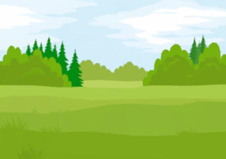 배경 풍경, 여름 녹색 숲 전나무와 낙 엽 나무와 푸른 하늘 구름. 낮은 폴 리 일러스트레이션. 벡터 일러스트