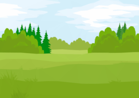 bucolical: Background Landscape, Summer Green Forest with Fir and Deciduous Trees and Blue Sky with Clouds. Low Poly Illustration. Vector