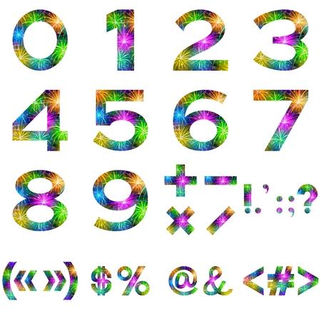 signos matematicos: Números y matemáticas Set estilizada signos del fuego artificial de vacaciones colorido con las estrellas y los flashes, aislado en fondo blanco