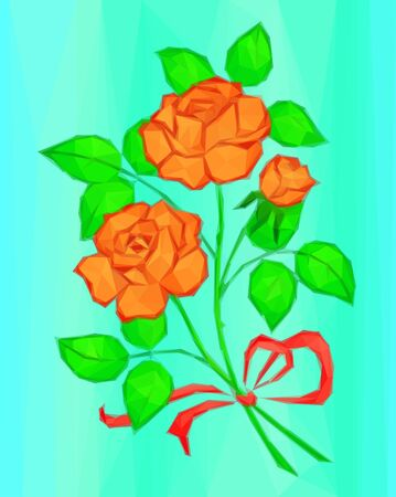 orange rose: Holiday Background, Flowers, Red and Orange Rose Bouquet with Green Leaves and Red Bow, Love Symbol, Low Poly Illustration. Vector