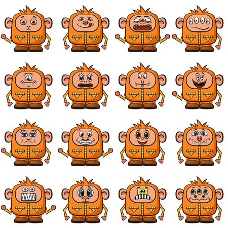 ugly gesture ugly gesture: Set of Funny Colorful Cartoon Characters, Cute Monsters in Overalls with Different Faces and Emotions, Elements for your Design, Prints and Banners, Isolated on White Background. Illustration