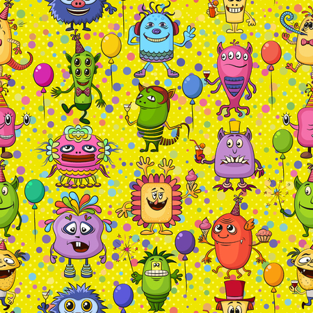 clubber: Seamless Background for Your Holiday Party Design with Different Cartoon Monsters, Colorful Tile Pattern with Cute Funny Characters, Feasting with Balloons, Sparklers and Cocktails.