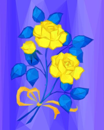 orange roses: Holiday Background, Yellow Flowers Bouquet with Blue Leaves and Orange Bow, Love Symbol, Low Poly Illustration.