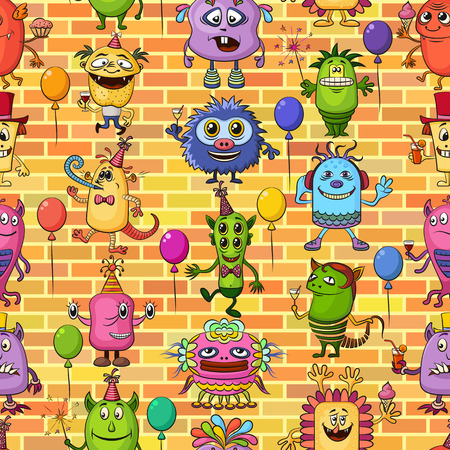 feasting: Seamless Background for Your Holiday Party Design with Different Cartoon Monsters on Brick Wall, Colorful Tile Pattern with Cute Funny Characters, Feasting and Dancing Illustration