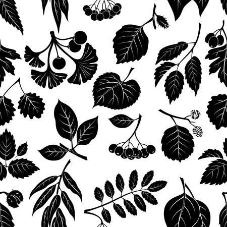 Fondo inconsútil de la naturaleza con las hojas del árbol del pictograma, sauce, espino, álamo, álamo temblón, Ginkgo Biloba, olmo, aliso, tilo, Rowan, Castaño, Negro Aronia y haya. Negro sobre blanco. Ilustración de vector