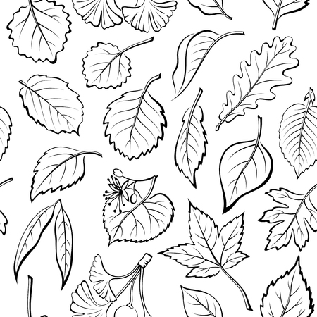 albero nocciola: Senza giunte della natura di sfondo con Black pittogrammi Tree Leaves, quercia, salice, Liquidambar, Biancospino, Pioppo, Aspen, Nocciola, Ginkgo Biloba, Elm, betulla, ontano, tiglio, carpino, Chokeberry e lilla. Vettoriali