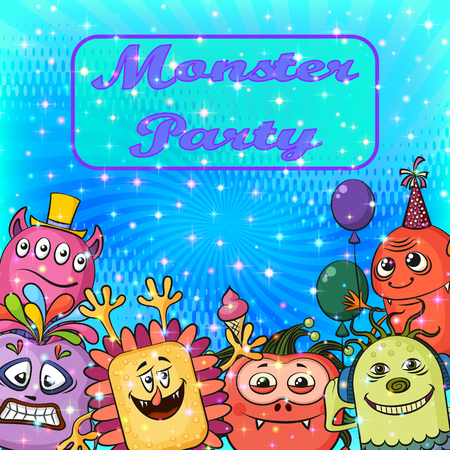 clubber: Background for Your Holiday Party Design with Different Cartoon Monsters, Colorful Illustration with Cute Funny Characters. Eps10, Contains Transparencies. Vector Illustration