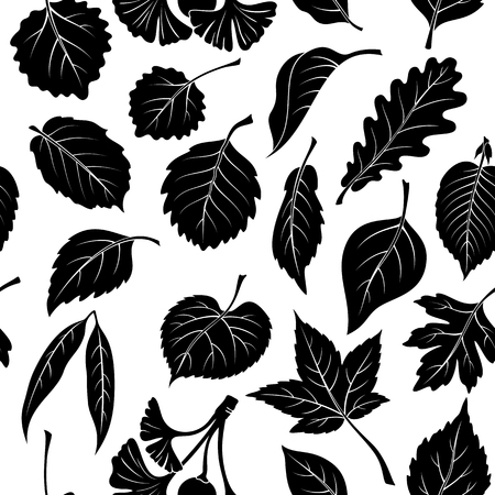 linden tree: Seamless Nature Background with Black Pictogram Tree Leaves, Oak, Willow, Liquidambar, Hawthorn, Poplar, Aspen, Hazel, Ginkgo Biloba, Elm, Birch, Alder, Linden, Hornbeam, Chokeberry and Lilac. Vector