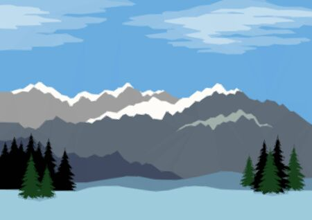 coppice: Background Landscape with Far Mountains and Blue Sky with Clouds in the Distance, Fir Trees and Snowdrifts. Low Poly Illustration. Vector
