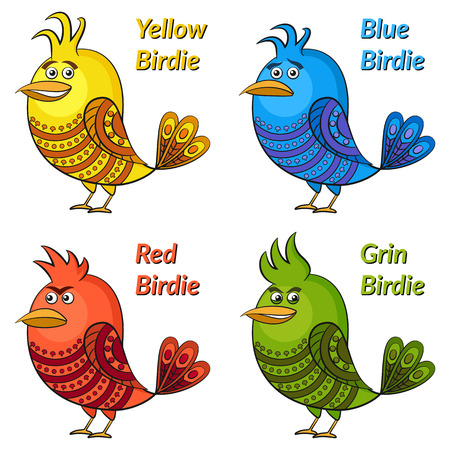 insidious: Set of Funny Colorful Birds of Different Colors and Moods, Blue Sad, Red Angry, Yellow Cheerful and Green Insidious, Cute Patterned Cartoon Character, Isolated on White Background. Vector