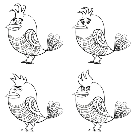 insidious: Set of Funny Birds of Different Moods, Sad, Angry, Cheerful and Insidious, Cute Patterned Cartoon Character, Black Contour Isolated on White Background. Vector