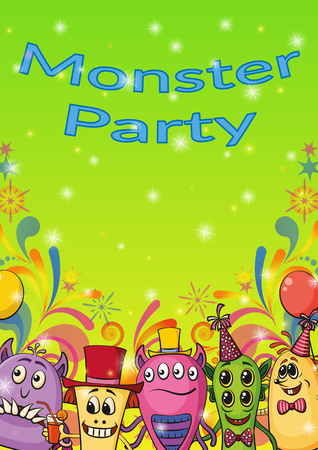 clubber: Background for Your Holiday Party Design with Different Cartoon Monsters, Colorful Illustration with Cute Funny Characters.