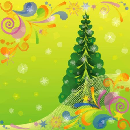 christmastide: Christmas Low Poly Background for Holiday Design with Fir Tree and Abstract Patterns. Vector