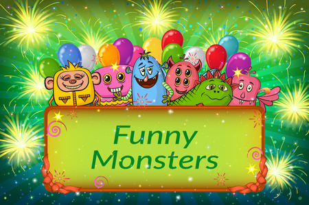 clubber: Background for Your Holiday Party Design with Different Cartoon Monsters, Colorful Illustration with Cute Funny Characters and Bright Fireworks.