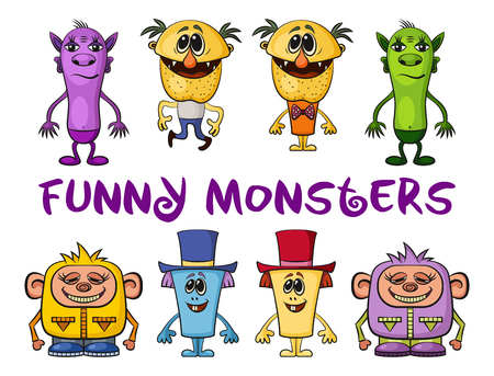 unshaven: Set of Funny Colorful Cartoon Characters, Different Monsters, Elements for your Design, Prints and Banners, Isolated on White Background. Vector