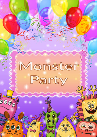 clubber: Background for Your Holiday Party Design with Different Cartoon Monsters, Colorful Illustration with Cute Funny Characters, Balloons and Bright Fireworks. Eps10, Contains Transparencies. Vector Illustration