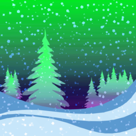 christmas fairy: Christmas Fairy Landscape, Low Poly Background for Holiday Design, Winter Forest with Fir Trees and Snow. Vector