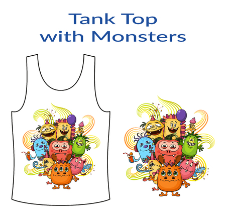 tanktop: Group of Funny Colorful Cartoon Characters, Different Monsters, Elements for your Design, Prints and Banners, Presented in Sample Form, Tank Top, Isolated on White Background. Vector