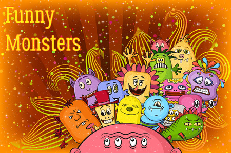 Background for Your Holiday Party Design with Different Cartoon Monsters, Colorful Illustration with Cute Funny Characters, Patterns and Confetti. Eps10, Contains Transparencies. Vector