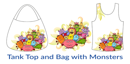 tanktop: Group of Funny Colorful Cartoon Characters, Different Monsters, Elements for your Design, Prints and Banners, Presented in Sample Forms, Tank Top and Bag, Isolated on White Background. Vector