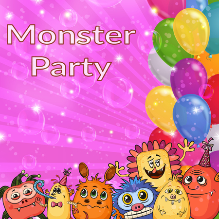 Background for Your Holiday Party Design with Different Cartoon Monsters, Colorful Illustration with Cute Funny Characters, Bright Balloons and Transparent Soap Bubble. Eps10 Vector Illustration