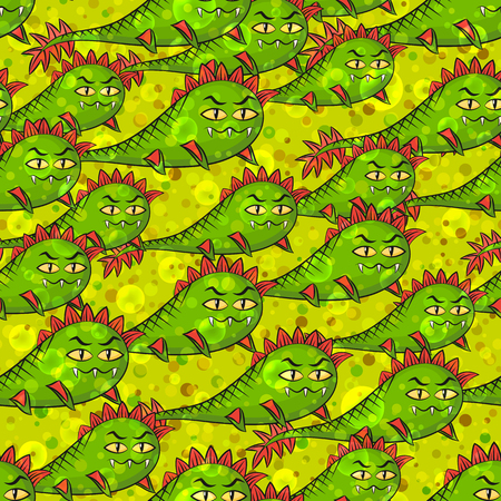 amphibians: Seamless Background for Your Design with Cartoon Monsters Amphibians, Swimming Among the Bubbles and Confetti, Colorful Tile Pattern with Cute Funny Characters. Eps10, Contains Transparencies. Vector Illustration
