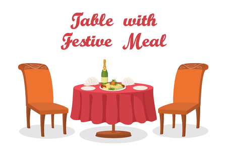 Cartoon Served Holiday Table with Festive Meal, Bottle of Champagne Wine, Napkins, Plates, Two Chairs, Isolated on White Background. Eps10, Contains Transparencies. Vector Illustration
