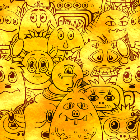 golden hair: Seamless Background for your Design with Different Cartoon Contour Monsters, Tile Pattern with Cute Funny Characters, Visible Through the Monotone Yellow Color Filter. Vector