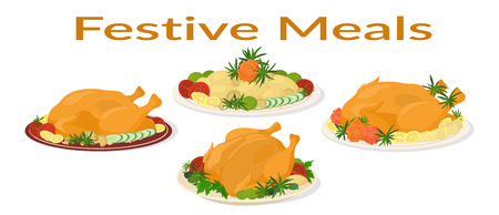 Set of Delicious Festive Food on Plates, Holiday Christmas Roasted Turkeys and Fried Potatoes, Isolated on White Background. Vector