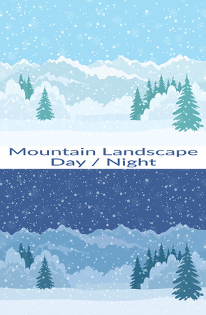 snowdrifts: Set of Seamless Horizontal Backgrounds, Christmas Holiday Landscapes with Night and Day Snowy Sky, Fir Trees, Snowdrifts and Far Mountains in the Distance. Eps10, Contains Transparencies. Vector
