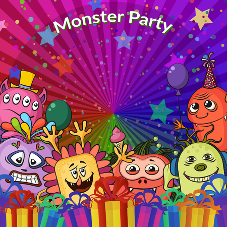 clubber: Background for Your Holiday Party Design with Different Cartoon Monsters, Colorful Illustration with Cute Funny Characters, Gift Boxes, Stars and Confetti. Vector Illustration