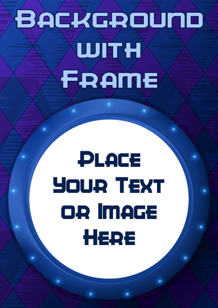 illuminator: Abstract Backdrop, Round Porthole Frame on Blue Wall with Empty White Place for Text or Design Image. Eps10, Contains Transparencies. Vector