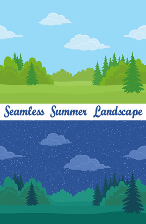Set of Horizontal Seamless Background Landscapes, Day and Night Summer Forest with Green Grass, Fir Trees, Clouds and Blue Sky. Eps10, Contains Transparencies. Vector Illustration