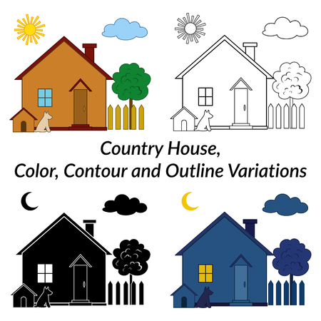kennel: Set of Small Cartoon Country Houses with Dog Kennel and Tree in a Garden, Different Variations, Day, Night, Black and White Contour and Silhouette Isolated on White Background.