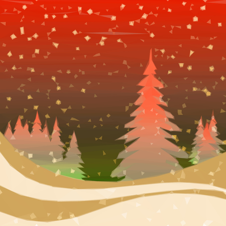 christmas fairy: Christmas Fairy Landscape, Low Poly Background for Holiday Design, Winter Forest with Fir Trees and Snow.