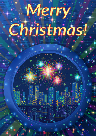 Christmas Holiday Background, Round Porthole Window on Blue Wall with Night City Landscape, Skyscrapers, Shining Fireworks and Place for Text. Illustration