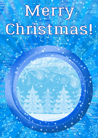 Christmas Holiday Background, Round Porthole Window on Blue Wall with Magic Winter Forest, Fir Trees, Abstract Patterns, Snowflakes, Confetti and Place for Text. Illustration