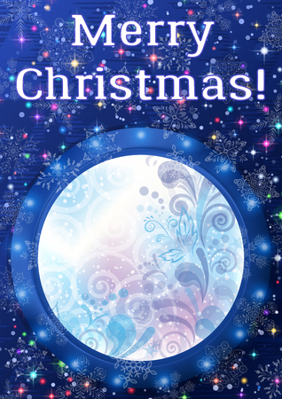 Christmas Holiday Background, Round Porthole Window on Blue Wall with Winter Abstract Floral Pattern, Magic Sparks, Light Snowflakes, Confetti and Place for Text. Illustration