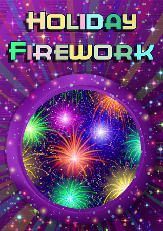 Holiday Magic Background, Round Porthole Window on Violet Wall with Colorful Fireworks, Light Sparks, Streamers, Confetti and Place for Text.