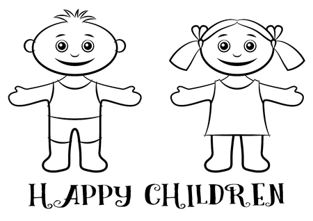 lad: Cartoon People, Set of Happy Children, Funny Little Boy and Girl, Standing with Arms Wide Open and Smiling, Black Contour Isolated on White Background. Illustration