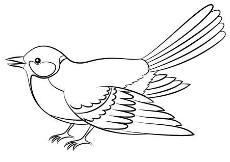Realistic Cartoon Bird Titmouse, Black Contour Isolated on White Background.