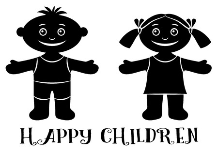 arms wide open: Cartoon People, Set of Happy Children, Funny Little Boy and Girl, Standing with Arms Wide Open and Smiling, Black Silhouette Isolated on White Background.